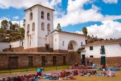 Marknadsföra på Chinchero, den sakrala dalen av incasna Royaltyfria Foton