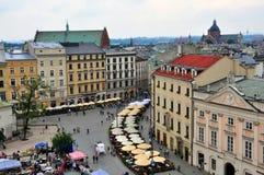 Marknadsfyrkant av Krakow, Polen Arkivbilder