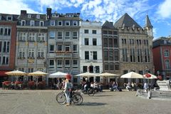 Marknadsfyrkant i Aachen Arkivfoto