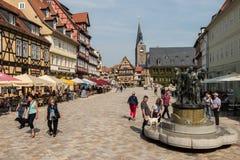 Marknadsfyrkant i Quedlinburg, Tyskland Arkivfoto