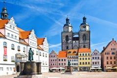 Marknadsfyrkant i Wittenberg, huvudsaklig fyrkant av den gamla tyska staden royaltyfri fotografi
