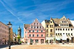 Marknadsfyrkant i Wittenberg, huvudsaklig fyrkant av den gamla tyska staden royaltyfri foto