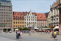 Marknadsfyrkant i Wroclaw - Polen Arkivfoton