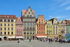 Marknadsfyrkant i Wroclaw - Polen Arkivbild