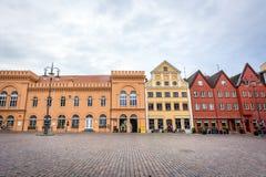 Marknadsfyrkant och gammalt stadshus i Schwerin, Tyskland Arkivfoton