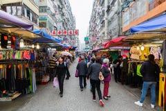 Marknadsgata i Kowloon, Hong Kong Royaltyfria Foton