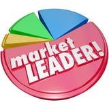 Marknadsledare Words Pie Chart Bästa Vinnande Företag störst aktie Fotografering för Bildbyråer