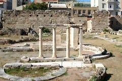Marknadsplats nära akropolen av Aten, Grekland Arkivbild