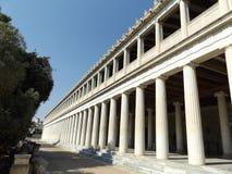 Marknadsplatsslott av Aten, gammalgrekiskabyggnadsrekonstruktion Fotografering för Bildbyråer