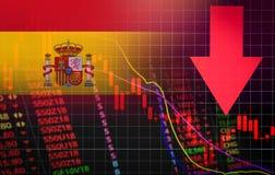 Marknadspris för kris för Spanien börsmarknad röd ner diagramnedgångaffär och röd negativ droppe för finanspengarkris i försäljni royaltyfri illustrationer