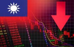 Marknadspris för kris för Taiwan börsmarknad röd ner diagramnedgångaffär och röd negativ droppe för finanspengarkris i försäljnin royaltyfri illustrationer