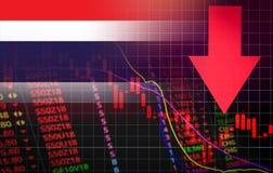 Marknadspris för kris för Thailand börsmarknad röd ner diagramnedgångaffär och röd negativ droppe för finanspengarkris in stock illustrationer