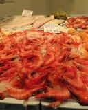 Marknadsställe i Torrevieja, Spanien, med till salu räkor, mussles och annan skaldjur Arkivfoto
