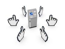 Markörer runt om ATM. Arkivbilder