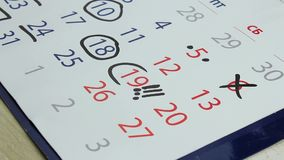 Marks in the calendar stock footage