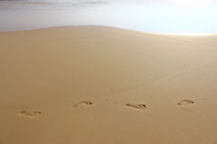 The marks of feet on the sand Royalty Free Stock Image