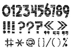 Marks on grunge style. Numbers 0-9 and punctuation marks on grunge style.Vector Royalty Free Stock Photo