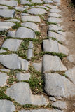Marks of the history. Wheel marks in the pavement of the Appian Way Stock Photos
