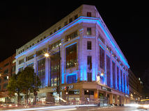 Marks & Spencer building in Oxford street at night in London Royalty Free Stock Images