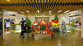 Marks & Spencer christmas decorations in hong kong stock images