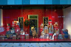 Marks and Spencer Christmas Window Display. Bracknell, England - Dec 05, 2017: Christmas window display of the Marks & Spencer department store in the new Stock Photos