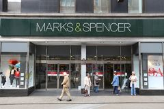 Marks and Spencer. LEEDS, UK - JULY 12, 2016: People shop at Marks and Spencer department store in downtown Leeds, UK. M&S is a major retailer with 1,010 stores Royalty Free Stock Photos