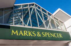 Marks and SPencer (M and S) shop sign,logo. Manchester, UK  - December 3rd 2014: Marks and Spencer the UK retail gaint saw big Christmas crowds today Stock Photography