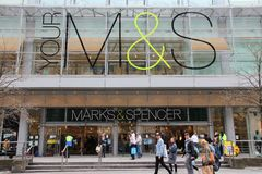 Marks and Spencer. MANCHESTER, UK - APRIL 22: People visit Marks & Spencer on April 22, 2013 in Manchester, UK. M&S is a major retailer with 1,010 stores in 41 Stock Photos