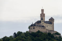 Marksburg Castle at Braubach in Rhine Valley, Germany - UNESCO World Heritage Site Stock Photos