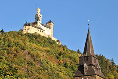 Marksburg Castle in Germany on the hill Royalty Free Stock Photos