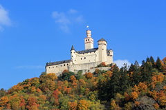 Marksburg Castle. Horizontal image of Marksburg Castle located above the village of Braubach Germany on the Rhine River Stock Images