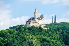 Marksburg on the Rhine at blue sky royalty free stock images