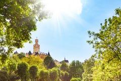 Marksburg-Schloss am sonnigen Tag, Deutschland Lizenzfreies Stockfoto