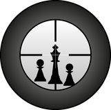 Marksman. Chessman in targeted by sniper Royalty Free Stock Photo