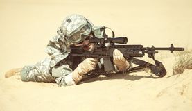 Marksman in action Stock Images
