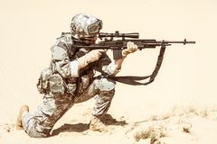 Free Marksman In Action Royalty Free Stock Images - 55352789