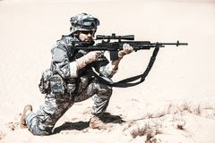 Free Marksman In Action Royalty Free Stock Photos - 55352798