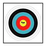 Marksman Target Grouping. A target with a grouping of bullet holes close to the bulls eye Royalty Free Stock Photography