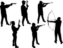 Marksman vector silhouette Royalty Free Stock Photos