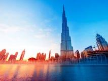 Markstein Burj Khalifa Dubais Stockfotos