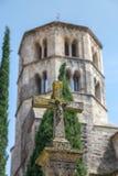 Markstein in einer spanischen Stadt Gerona Stockfotografie