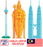 Markstein Kuala Lumpur, Malaysia in der Pixelkunst Stockbilder