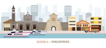 Markstein-Skyline Manilas, Philippinen Stockfotos