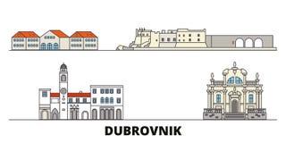 Markstein-Vektorillustration Kroatiens, Dubrovnik flache Linie Stadt mit berühmtem Reiseanblick, Skyline Kroatiens, Dubrovnik lizenzfreie abbildung