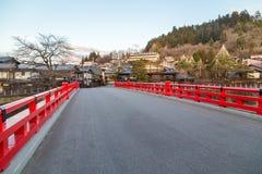 Markstein von Takayama, rote Brücke Lizenzfreie Stockfotografie