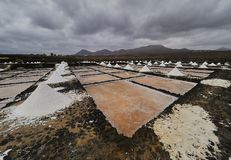 Marksteine von Lanzarote - Salinas de Janubio, Hauptsalz productio Lizenzfreies Stockbild