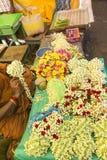 Markt blüht Halskette in Indien Stockfoto
