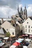 Markt in Blois Frankreich Stockfoto