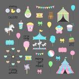 Markt, Carnaval, inzameling van circus de vectorillustraties stock illustratie