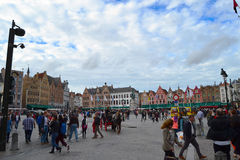 Markt de Grote en Brujas Fotografía de archivo